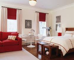 bedroom design red contemporary wood: breathtaking white ceiling lamps ideas over white cover sheet master bedding and pedestal table also red