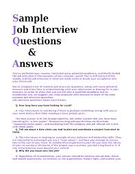 best photos of interview question and answer format sample sample interview questions and answers