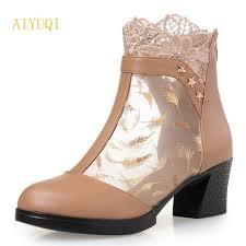 <b>AIYUQI</b> 2018 new genuine leather <b>women mesh</b> sandals ...