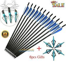 <b>6PCS</b> 16/<b>17</b>/18/20/22 <b>Inch Crossbow</b> Bolt <b>Carbon</b> Arrows Feather+ ...