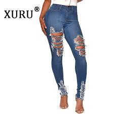 <b>XURU 2019</b> autumn <b>new</b> women's hot sale hole washed jeans sexy ...
