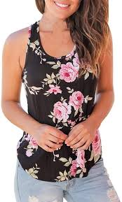 <b>Womens</b> Casual Floral Stripe Print Patchwork Sleeveless T-<b>Shirt</b> ...