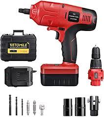 <b>VETOMILE</b> 18V Cordless Impact Drill Driver Kit and <b>1</b>/<b>2</b> Inch Electric ...