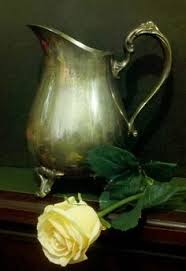 SOLD - <b>Yellow Rose</b> and Silver Pitcher. <b>Oil</b> on canvas panel 11x14 ...