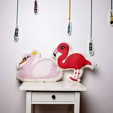 Baby pillow <b>100</b>% linen fabric shaped <b>swan</b> and flaming cushion ...