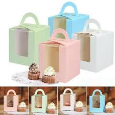 10/<b>20Pcs</b> Single Cupcake Muffin Fairy Cake Boxes <b>Bags</b> With Clear ...