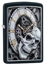 Заказать <b>Зажигалка ZIPPO Skull Clock</b> с покрытием Black Matte ...