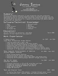 animator resume design print resume resume animator resume
