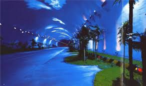 the qinling zhongnan tunnel in china where artistic lighting and the oasis with palms artistic lighting and designs