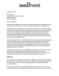 save regulation a seedinvest regulation a seedinvest comment letter to washington state