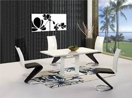 black and white dining table set: extendable dining table inspiring new white high gloss
