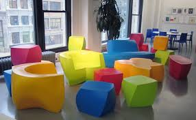 frank gehry for heller blah to bright bright coloured furniture