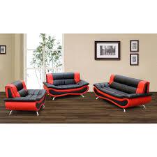 christina red black 2 tone bonded leather modern sofa set black and red furniture