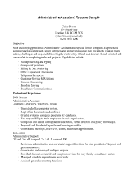 Resume Template Resume Objective Statement For Administrative
