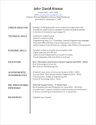 sample resume format for fresh graduates one page format 2 resume format one page