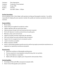 press assistant job description flexo impressions press assistant job description