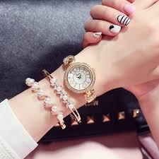 New Fashion <b>Women Watches 3pcs</b> Set Pearl Crystal Bracelet ...