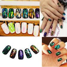 <b>10 pcs Colorful</b> Broken Mirror Glass <b>Nail</b> Sticker <b>Foil</b> Tips Stencil ...