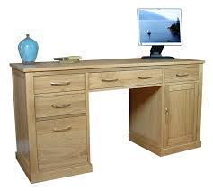 picture of mobel oak twin pedestal computer desk baumhaus mobel solid oak extra