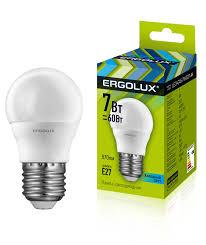 <b>Ergolux LED</b>-<b>G45</b>-<b>7W</b>-<b>E27</b>-<b>4K</b> (Эл.<b>лампа светодиодная</b> Шар 7Вт ...