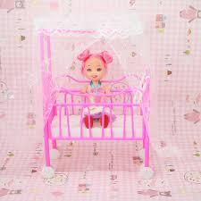 dollhouse furniture lovely detachable plastic baby cot bed 1 random doll for barbie sisiter kelly barbie dollhouse furniture cheap