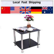 black glass amp stainless steel small display stand home office drink table side coffee table cheap office tables