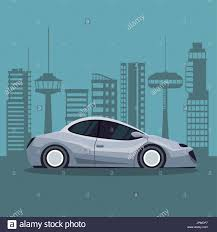 futuristic <b>city landscape</b> silhouette with colorful <b>modern</b> gray car ...