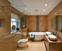 brown ceramic tile for flooring and wall decorating also recessed light in white ceiling also basin ceiling wall shower lighting