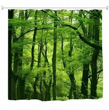 Green Forest <b>Waterproof Bathroom</b> Polyester <b>Shower Curtain</b> Liner ...