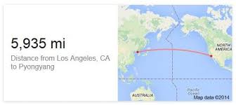 Image result for map f the distance from North korea to the us