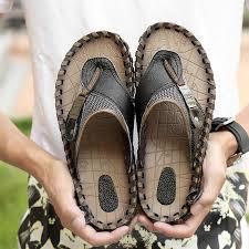 Brand <b>Men's</b> Luxury <b>Flip Flops</b> 2019 <b>Genuine Leather</b> Slippers ...