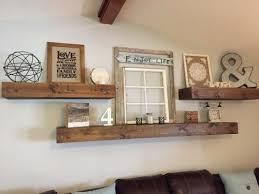 rustic style living room clever: living room decor rustic farmhouse style floating shelves over sofa in natural wood