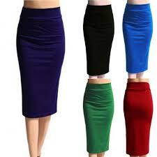 Ladies Plain <b>Office</b> Women <b>Stretch</b> Bodycon Midi Jersey <b>Pencil Skirt</b> ...