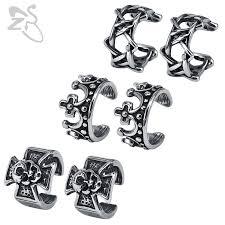 ZS Stainless Steel <b>Earrings Punk</b> Skull Cuff <b>Earrings</b> for Men ...