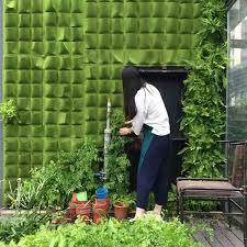 1*1m Wall Hanging <b>Felt Planting Bags</b> Pockets Green Grow <b>Bag</b> ...