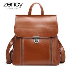 Zency Daily Travel <b>Women</b> Backpack <b>100</b>% <b>Genuine Leather</b> Black ...