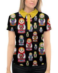 Рубашка Поло с <b>полной</b> запечаткой Матрёшки #1981077 от ...