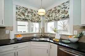 corner sinks design showcase:  control the amount of light you need while working at the corner sink with lovely curtains