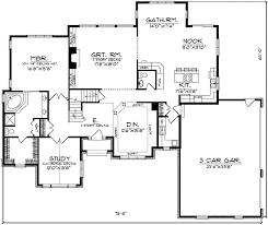 Brick two story Home Plan   AH   st Floor Master Suite  CAD    Floor Plan