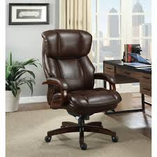 fairmont big and tall comfortcore traditions bonded leather executive office chair in biscuit brownwalnut big office chairs executive office chairs
