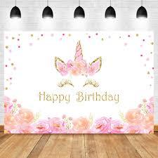 Birthday <b>Unicorn</b> Backdrop <b>Close Eyes Unicorn</b> Background Flower ...