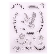 <b>Peace Dove Cute</b> Animal Feather Flower Clear Stamps Scrapbook ...