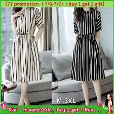 <b>YILIAN</b>  Striped Dress Female Summer Waist Temperament <b>Fashion</b> ...