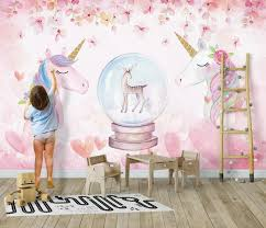 <b>Beibehang</b> Custom 3D Wallpaper <b>Watercolor Unicorn</b> Art Mural Life ...