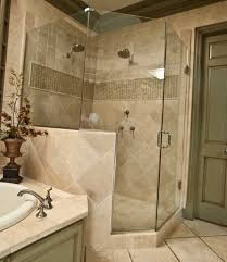 bathroom ideas corner shower design: modern small bathroom remodel mixed with floor tile and corner shower area also gray wooden door small flower vase