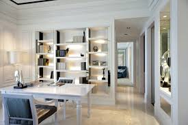 wondrous corner white home office design with single ceiling lighting fixtures home office