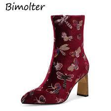 <b>Bimolter Women</b> Luxury Elegant Embroidery Ethnic Boots <b>Female</b> ...