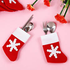 household dining table set christmas snowman knife:  pcs set christmas socks tableware bags christmas decoration dining table knife fork sliverware bag