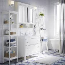 washstand bathroom pine: a white bathroom with hemnes washstand shelf and mirror cabinet in white plus a