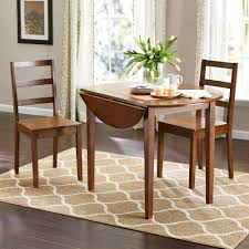 three piece dining set: mainstays  piece drop leaf dining set medium oak finish walmartcom